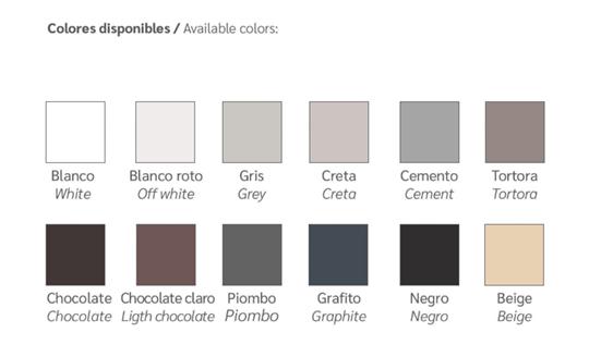Colores disponibles plato de ducha aligerado